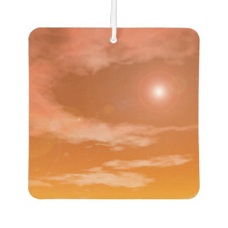 Sun in the orange sunset sky background - 3D rende Air Freshener