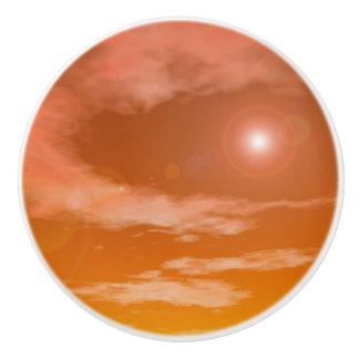 Sun in the orange sunset sky background - 3D rende Ceramic Knob