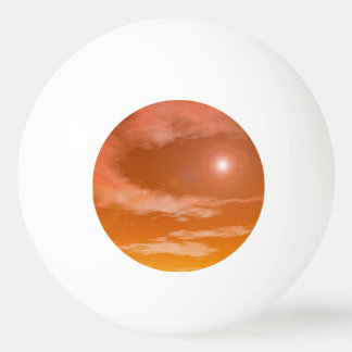 Sun in the orange sunset sky background - 3D rende Ping Pong Ball