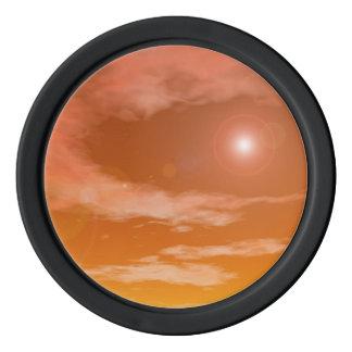 Sun in the orange sunset sky background - 3D rende Poker Chips