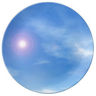 Sun in the sky background - 3D render Porcelain Plates