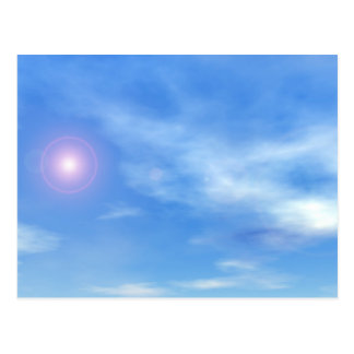 Sun in the sky background - 3D render Postcard