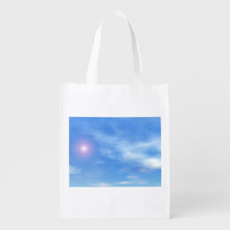 Sun in the sky background - 3D render Reusable Grocery Bag