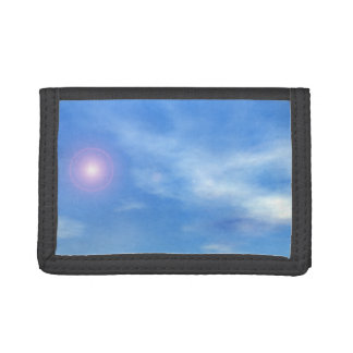 Sun in the sky background - 3D render Trifold Wallets