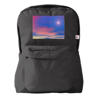 Sun in the sunset sky background - 3D render Backpack
