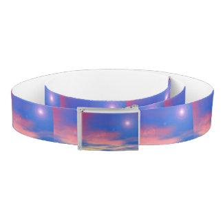 Sun in the sunset sky background - 3D render Belt