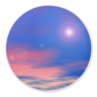 Sun in the sunset sky background - 3D render Ceramic Knob