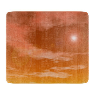 Sun in the sunset sky background - 3D render Cutting Board