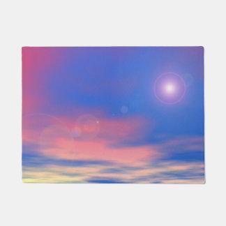 Sun in the sunset sky background - 3D render Doormat
