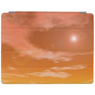 Sun in the sunset sky background - 3D render iPad Cover
