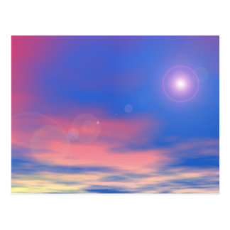 Sun in the sunset sky background - 3D render Postcard