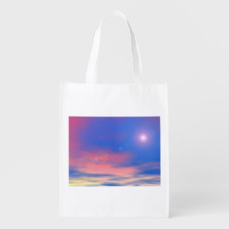Sun in the sunset sky background - 3D render Reusable Grocery Bag