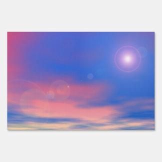 Sun in the sunset sky background - 3D render Sign