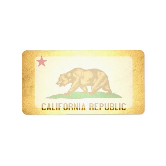 Sun kissed California Flag Label