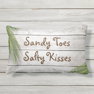 Sun Kissed Sandy Toes Salty Kisses Outdoor Pillow