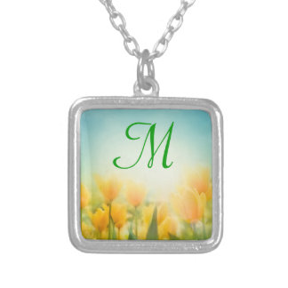Sun Kissed Yellow Tulips Monogram Necklace
