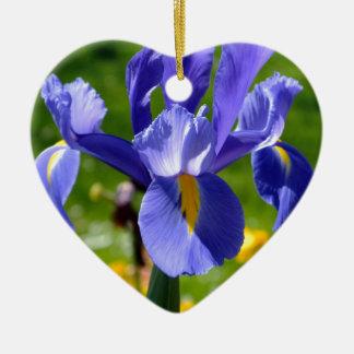 Sun light on blue iris ceramic ornament