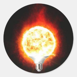Sun Lightbulb Classic Round Sticker