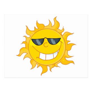 Sun Mascot Cartoon With Sunglasses Postcard