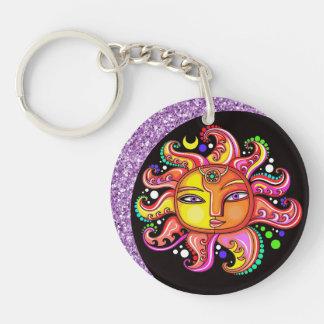 Sun, Moon, Celestial Keychain