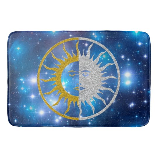 SUN & MOON gold silver + your background Bath Mat