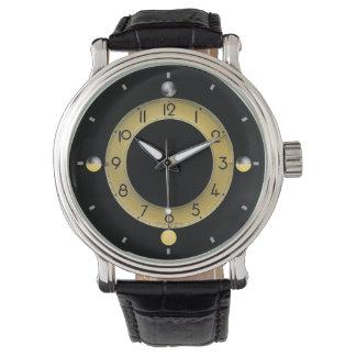 Sun & Moon Men's Vintage Black Leather Strap Watch