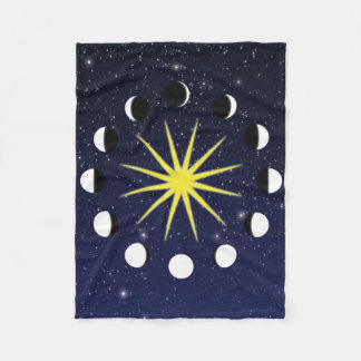 Sun, Moon Phases, and Stars Fleece Blanket