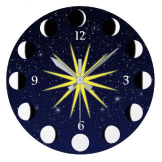 Sun, Moon Phases & Stars Large Clock