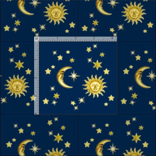 Sun, Moon & Stars Fabric