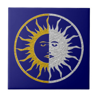 SUN & MOON Symbol - gold silver Tile