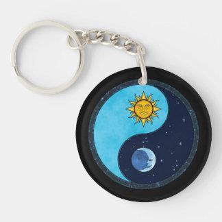 Sun Moon Yin Yang Symbol Double-Sided Round Acrylic Keychain