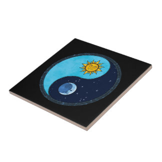 Sun Moon Yin Yang Symbol Tile