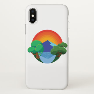 Sun, Mountain, Lake and Trees 👍 iPhone X Case