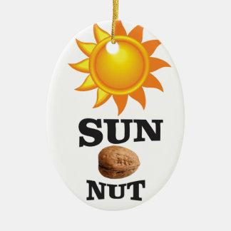 sun nut yeah ceramic ornament