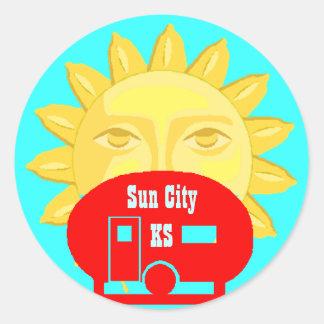 Sun On Camper camp Luggage Label Travel sticker