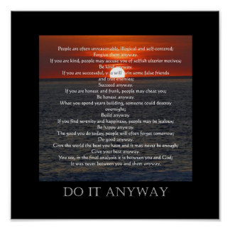 "Sun on Ocean Bottom ""Do It Anyway"" Poster"