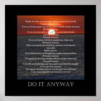 "Sun on Ocean Bottom ""Do It Anyway"" Poster"