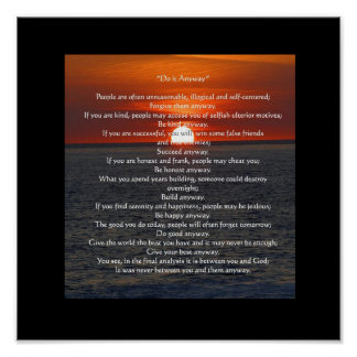 Sun on Ocean in Black Do It Anyway Posters
