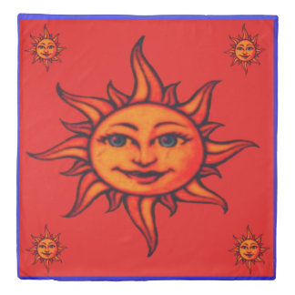 sun on red with blue border duvet cover