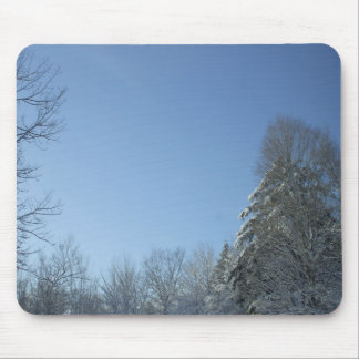 Sun on Snow Covered Trees Mouse Pad