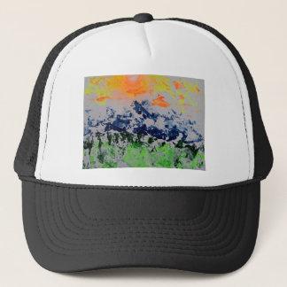 Sun over snow clad mountains trucker hat