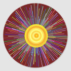 Sun Over The Moon Rainbow Fractal Classic Round Sticker