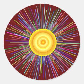 Sun Over The Moon Rainbow Fractal Classic Round Sticker