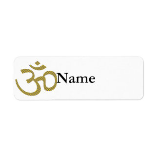 Sun patterened Om or Aum ॐ.png Return Address Label