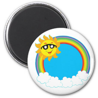 Sun & Rainbow Wreath with Clouds 2 Inch Round Magnet