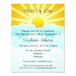 Sun Rays Clouds Celebration Graduation Party 4.25x5.5 Paper Invitation Card