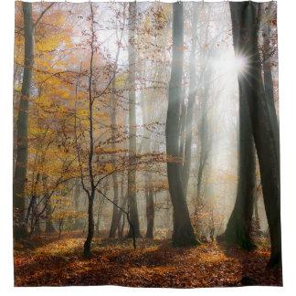 Sun Rays Mystic Misty Forest Shower Curtain