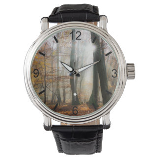 Sun Rays Mystic Scenic Forest Photo - dial-plate Watch