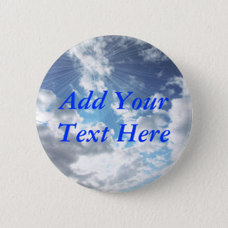 Sun Rays On Blue Sky Button Pin