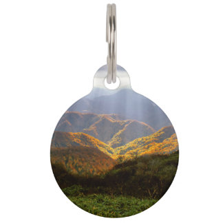 Sun Rays Over Shirakami-Sanchi Mountains Pet Name Tag